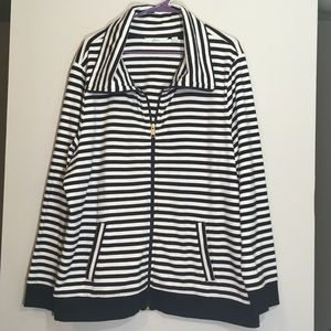 OVERSIZED STRIPED SWEATSHIRT JACKET STRETCH ZIPUP